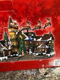 12.5 Animated Musical LED Village Santa Sleigh and Reindeer flying