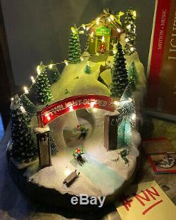 14.5 Christmas Village Downhill Snow Ski Resort Slope Animated Lighted Musical