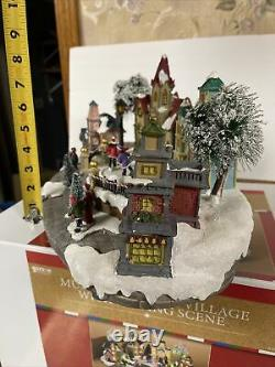 15-1/2 Animated MUSICAL LIGHTED Victorian Ice Skating Church Christmas Village