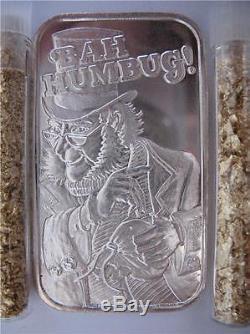 1 Ounce. 999 Pure Silver Rare Christmas Bah Humbug Bullion Barter Art Bar + Gold