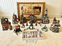 2000 Grandeur Noel VICTORIAN VILLAGE SET 34 PIECE Houses COMPLETE
