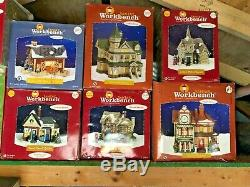 25 Vintage Christmas village house collection Santa's workshop display Workbench