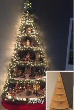 3ft wooden christmas tree corner shelf Christmas village display dept 56