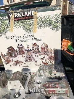 42pc VICTORIAN VILLAGE SET Porcelain Lighted Holiday Scene
