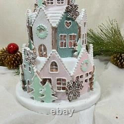 Abbot Light Up Christmas Gingerbread House Glitter & Snow LED Large New Pink