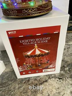 Animated Carousel Swing Lighted MUSICAL Carnival Christmas Village 10.6 Tall