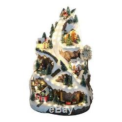 Animated Christmas House Village Led Lighted Musical Ski Resort Moving Train 18