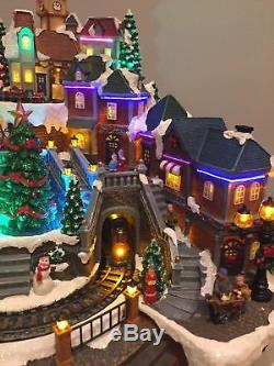 Animated Christmas Village with Lights, Music Rotating Tree Train Free Shipping