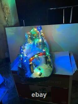 Animated MUSICAL LIGHTED Twilight Ski Slopes Hill Christmas Snow Downhill 14.5