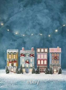 Anthropologie George & Viv Light-Up Holiday Village Townhouse Row House Glitter