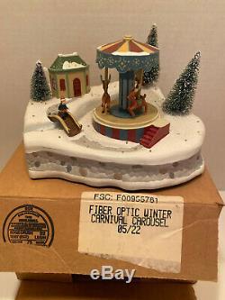 Avon Christmas Fiber Optic Winter Carnival 3 pc Set Carousel Ferris Wheel
