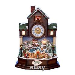 Brees Large Clock Lighted Musical Christmas Village Scene withAnimated Train