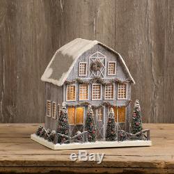 CHRISTMAS GLITTER CARDBOARD LARGE GREY BARN LIGHTED by Ragon House SW162050