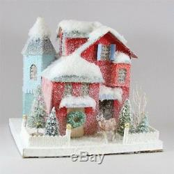 CODY FOSTER Christmas House Putz Style COUNTRY RED with Deer LED Light NEW