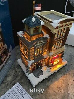 Carole Towne Bates Fire Station Animated Truck Lighted Musical Christmas Village