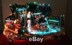 Christmas Lighted Village Fiber Optic Sled Hill River Skate Pond Village 14 1/2