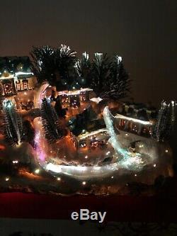 Christmas Lighted Village Fiber Optic Sled Hill River Skate Pond Village 14 1/2