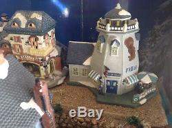Christmas Village Display Platform Ocean Scene Complete Set Up All Included