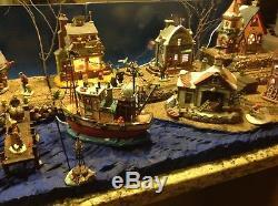 Christmas Village Display Platform Ocean Scene For Lemax, Dept 56, Sns