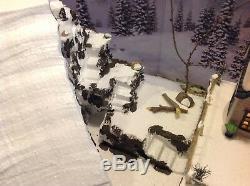 Christmas Village Display Platform W Ski Slope 2 Dept56 Houses Complete Scene