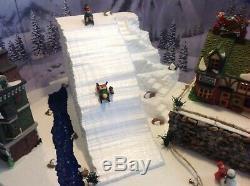 Christmas Village Display Platform W Two Dept56 Buildings And 3 Dept56Figurines