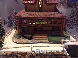Christmas Village Display Platforms Ski Slope, Creek, 2 Houses And Figurines