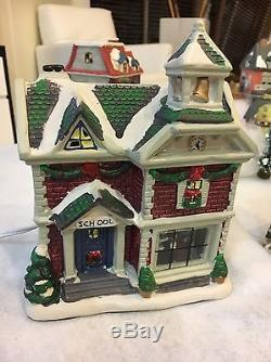 Christmas Village Lot of 43 pieces, 23 porcelain lighted houses + more