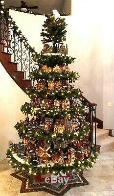 Christmas village display tree round