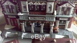 Classic Victorian Style Christmas Village Set with Village People & Lights