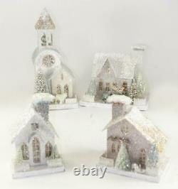 Cody Foster 4 Pc Set White Christmas Mantel Village House Church Collection