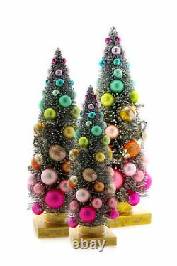 Cody Foster Bottle Brush Christmas Trees with Rainbow Balls 11.5-18.5 Set of 3