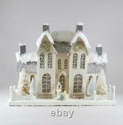Cody Foster Christmas Village Elegant Ivory Manor House with Deer Trees Wreath