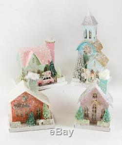 Cody Foster Christmas Village Pastel Color Houses and Church Set of 4 Buildings