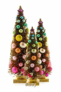 Cody Foster Gold Bottle Brush Christmas Trees Rainbow Balls 11.5-18.5 Set of 3