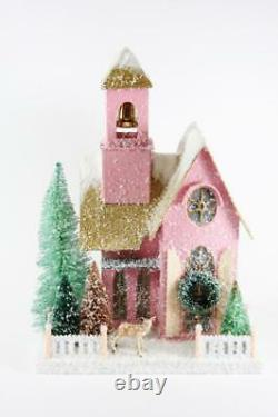 Cody Foster Snowy Pink Adobe with Deer Christmas Village Mantel House