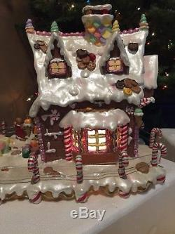 Costco Gingerbread Lighted House & White Bendable Tree Candy Ornaments Christmas