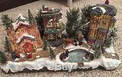 Fiber Optic Christmas Winter Village Town Skating PULEO Scene 18 x 8 withBox Inst