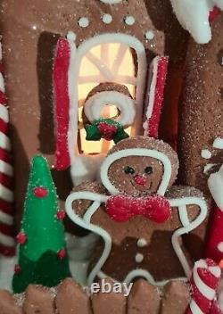 Gingerbread Man Brown House Large Christmas Light Up Clay-dough 10 Kurt Adler
