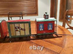 HSN DSI Stained Glass Lighted Christmas Train Lamp with Display Track