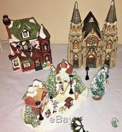 HUGE CHRISTMAS VILLAGE LOT Fencing Benches Library Hardware Church Art Gallery