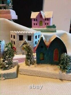 Huge Lot /17 Vintage Putz Cardboard Christmas Village Houses Glitter Japan