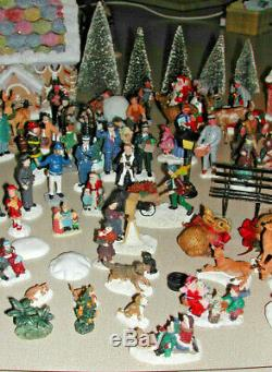 Huge Lot of CHRISTMAS VILLAGE FIGURINES & Fiber Optic Ginger Bread House & MORE
