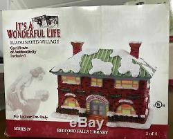 Its A Wonderful Life Enesco Christmas Village Bedford Falls Library! NIB! RARE