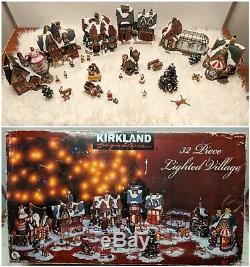 Kirkland Signature 32 Pc Porcelain Lighted Christmas Santa Village Lemax Size