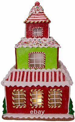 Kurt Adler 16.5 Gingerbread Junction House Clay-dough Santa Gbj0009 Led Lighted