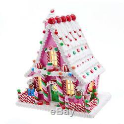 Kurt Adler Christmas Pink Gingerbread House Lite Up New 2019 GBJ0003 With Timer