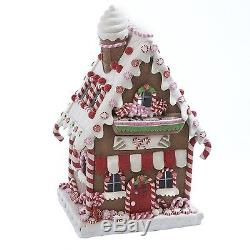 Kurt Adler Clay Dough LED Gingerbread House 13.5-Inch White