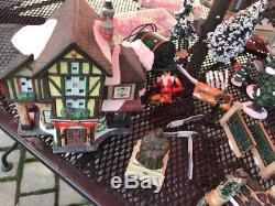 Large Christmas Village Set Some Lighted Ceramic 50 Pieces Lot Lemax