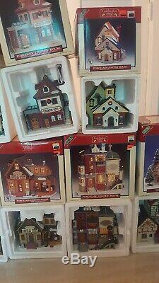 Large Collection Lot Of Lemax Christmas Village Houses Amazing Condition