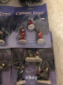 Large Lot Vtg COBBLESTONE CORNERS Christmas Village Train People Trees